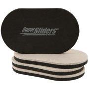 "Super Sliders 3-1/2 x 6"" Oval Felt Furniture Sliders Beige, 4 Pack"