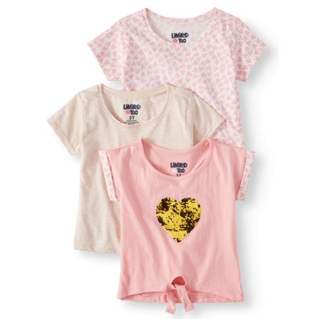 Limited Too Solid, Heart Printed & Reversible Flip Sequin T-shirts, 3 pack (Baby Girls & Toddler Girls)