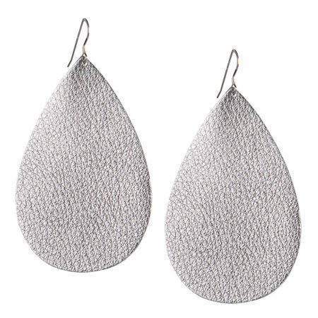 Womens Metallic Leather - One Wild Womens Metallic  Leather Earrings  Silver