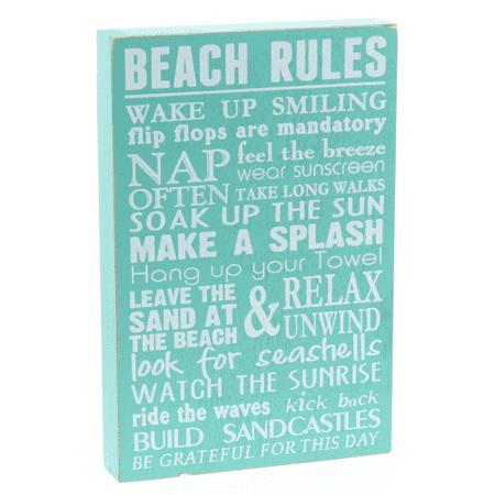 Barnyard Designs Beach Rules Wooden Box Wall Sign Beach House Decor Sign 12