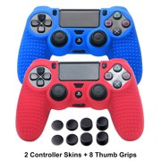 PS4 Controller Covers - PS4 Silicone Skins for DualShock 4 - PS4 Accessories Anti-slip Cover Case for Sony PlayStation 4, Slim, Pro - 2 Pack PS4 Controller Skins - 4 Pairs PS4 Grips - Red & Blue