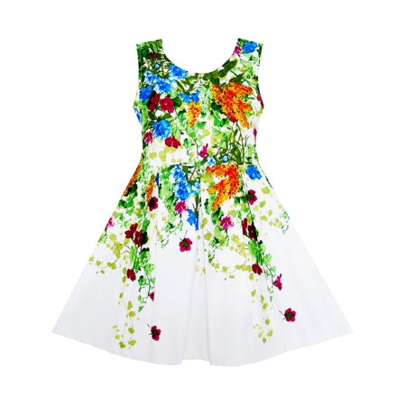 Girls Dress Elegant Princess Blooming Vine Ivy Flower Leaves 4