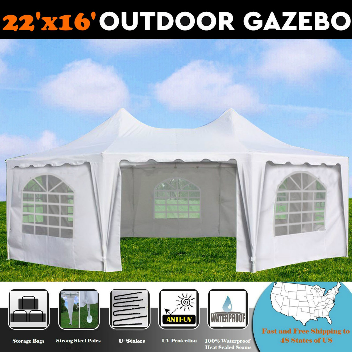 22'x16' White Octagonal Wedding Party Gazebo Tent Canopy Heavy Duty Tent