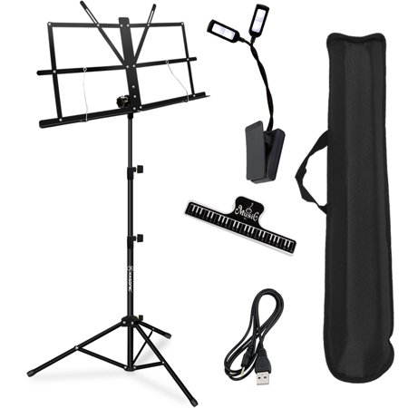 Music Stand, Kasonic Professional Collapsible Music Stand Portable and Lightweight with LED light, Music Sheet Clip Holder and Carrying Bag Suitable for Instrumental