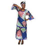 African Planet Womens Wax Print Dress Maxi dakshi Inpsired with Gele headwrap