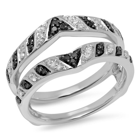 Dazzlingrock Collection 0.30 Carat (ctw) 14K Black & White Diamond Ladies Wedding Band Double Ring 1/3 CT, White Gold, Size 6.5