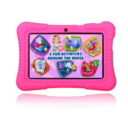7  Inch Android 4 4 Quad Core Hd Tablet Pc Mid 16G Dual Camera Wifi Bundle Hot Pink Silicone Case