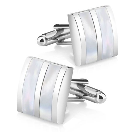 Zodaca New Classic Men`s Wedding Party High Quality Smooth Cufflinks Square Cuff Links - Silver/White Jade Camber