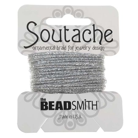 BeadSmith Textured Metallic Soutache Braided Cord 3mm Wide - Silver (3 Yards)
