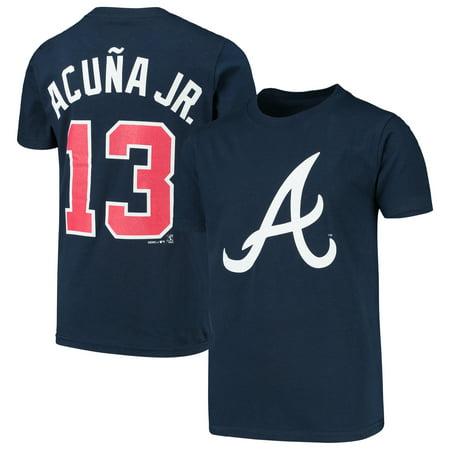 Ronald Acuna Jr. Atlanta Braves Majestic Youth Player Cap Logo Name & Number T-Shirt -