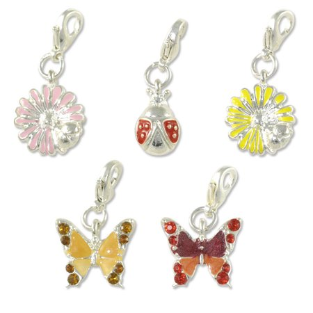 Nature Charm for Jewelry Making Set (Package of 5) with Clasp Silver Plated - Clasps For Jewelry Making