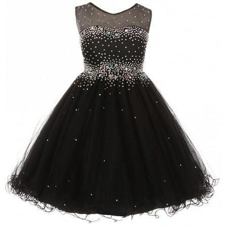 - Little Girls Sparkling Rhinestone Illusion Tulle Junior Bridesmaid Pageant Flower Girl Dress Black 4 (C50C29C)