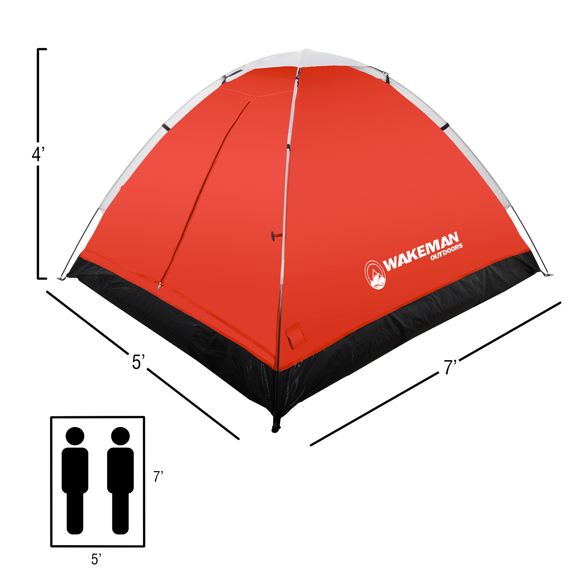 Easy Set Up-Great for Camping Rain Fly /& Carry Bag Backpacking 2-Person Dome Tent Hiking /& Outdoor Music Festivals by Wakeman Outdoors