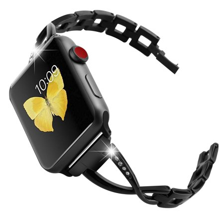 Stainless Steel Folding Clasp - For Apple Watch Band, Stainless Steel with Durable Folding Metal Clasp Featuring Crystals Inset at Wristband for Apple Watch Women Accessories Band Versions (Metal Black 38mm)