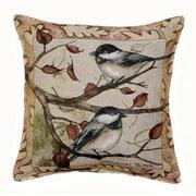 Autumn Chickadee Tapestry Throw Pillow USA Made