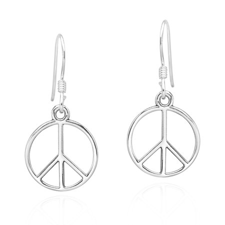 Modest Peace Sign and Harmony Symbol .925 Sterling Silver Dangle Earrings