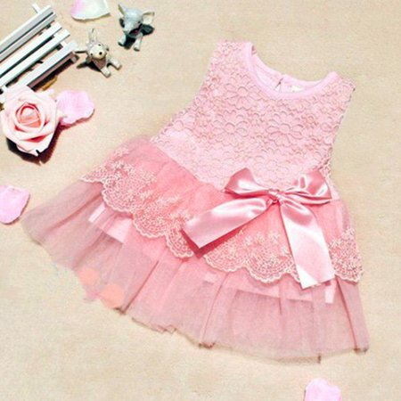 12-18Months Toddler Baby Princess Dress Girls Flower Party Wedding Tulle Tutu Dresses Skirts Pink](Flower Girl Dress With Tulle Skirt)