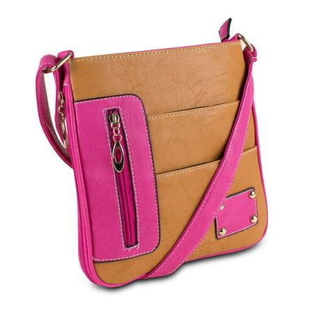 Additional Zippered Pockets - Mad Style Rachel Crossbody, Caramel