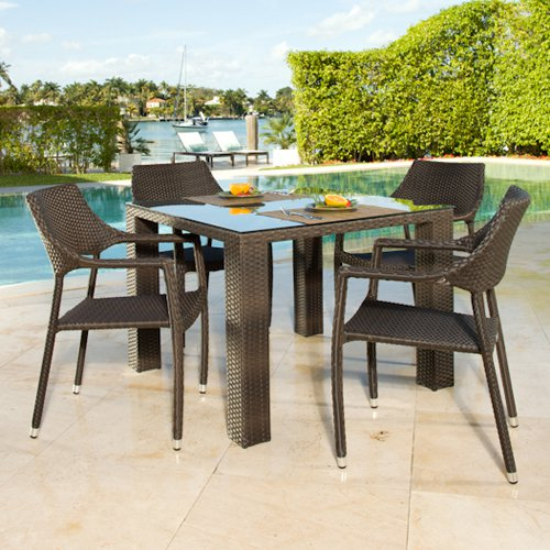 Source Outdoor Tuscanna St. Tropez All-Weather Wicker Patio Dining Set - Seats 4