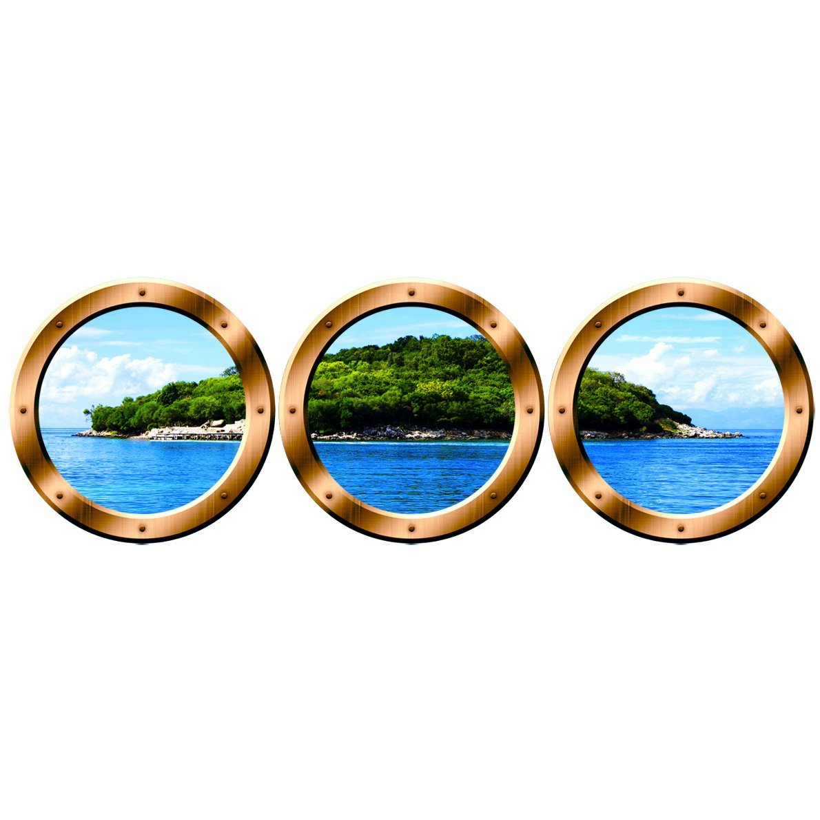 "VWAQ Wall Art Portholes - Nature Window Clings, Cruise Ship Decals - VWAQ-SPW8 (20"" Diameter, Silver)"