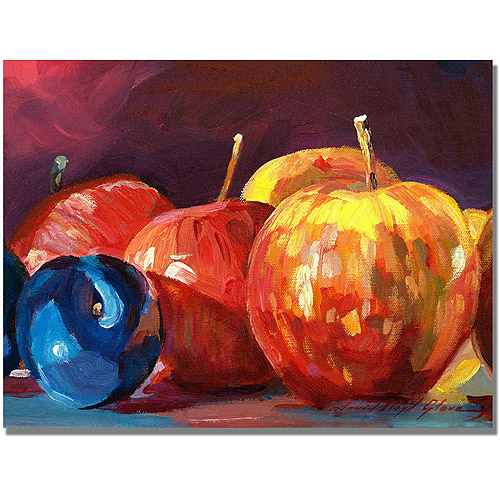 "Trademark Art ""Ripe Plums and Apples"" Canvas Wall Art by David Lloyd Glover"