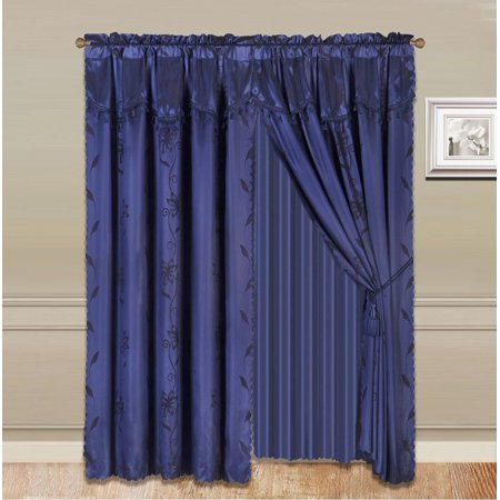 8 Piece Navy Blue Nada Luxury Faux Jacquard Floral Design Panel  Rod Pocket Window Curtain Set Attached Valance  Panel  And Sheer  Includes 2 Tie Backs