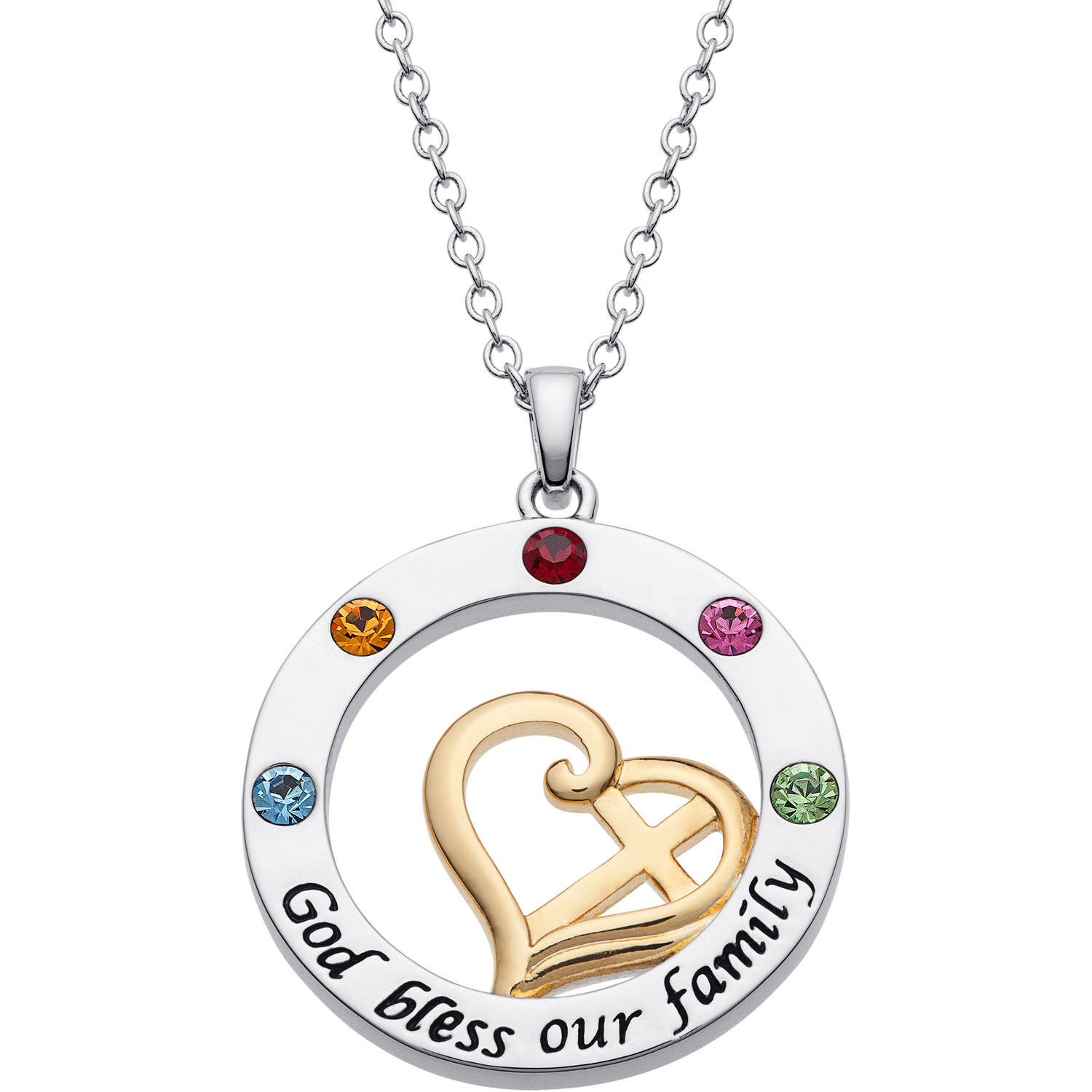 """Personalized Mother's Two-Tone Heart and Cross """"God Bless our family"""" Circle Birthstone Pendant"""