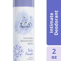 FDS Intimate Deodorant Spray, Baby Powder, 2 Ounce Spray Canister