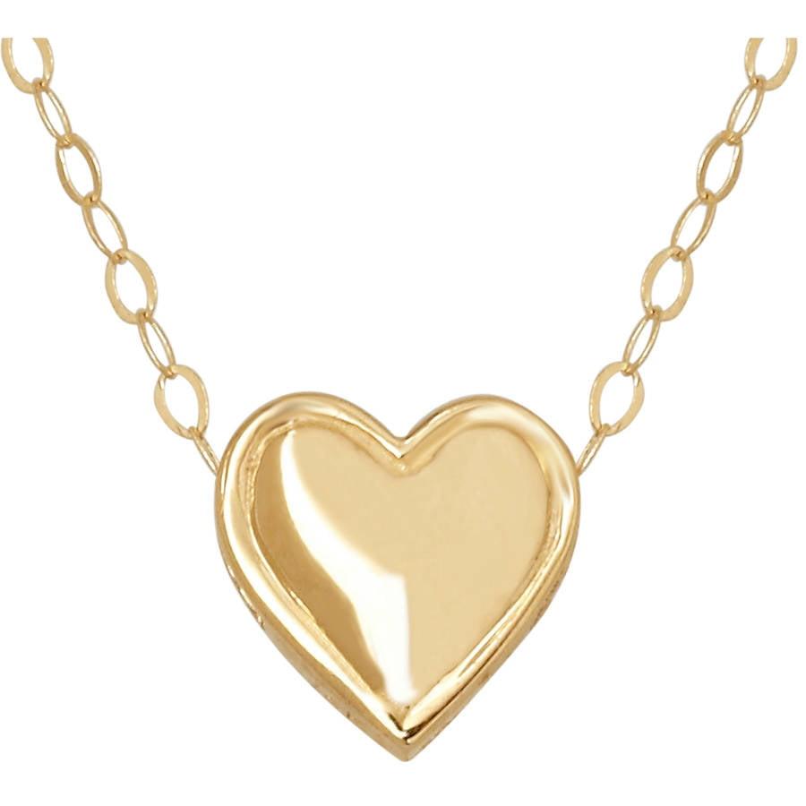 "Simply Gold 14kt Yellow Gold Teeny Tiny Heart Pendant, 17"""