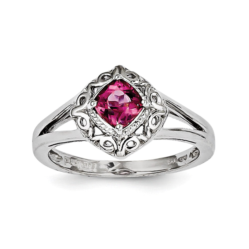 925 Sterling Silver Pink Tourmaline Ring Size-7 by