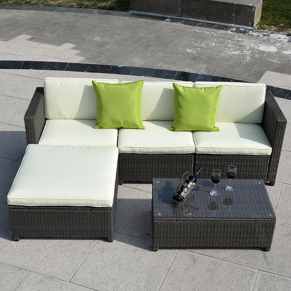 Costway Outdoor Patio 5pc Furniture Sectional Pe Wicker Rattan Sofa Set  Deck Couch Black (Brown