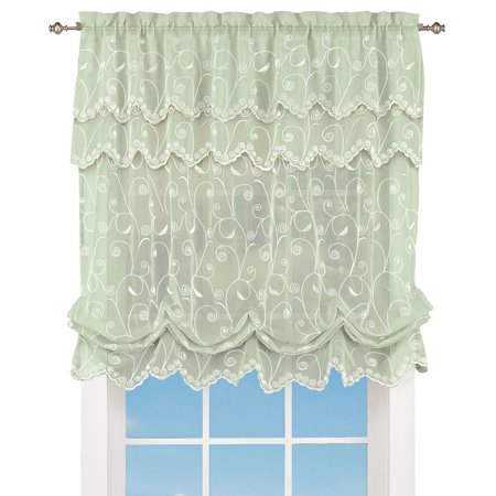 "Sheer Balloon Curtain Shade with Scroll Pattern & Rod Pocket Top, 63"" L x 54"" W, 54"" X 63"", Sage"