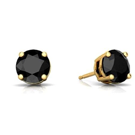 - 14Kt Yellow Gold 4mm Genuine Black Onyx Round Stud Earrings