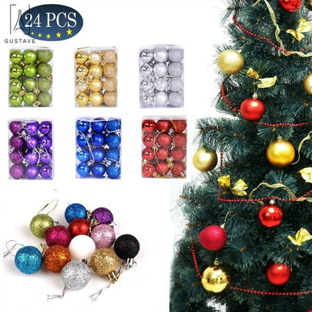 GustaveDesign 24 PCS Christmas Tree Baubles Balls Hanging Glitter Ornament Balls for Xmas Tree Holiday Wedding Party Ornament Set