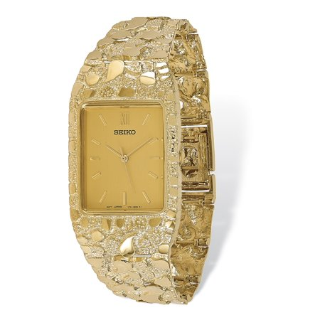 Geneve Mens Solid Gold Watch (14k Yellow Gold Men's Squared Champagne 27x47mm Dial Solid Nugget Watch)