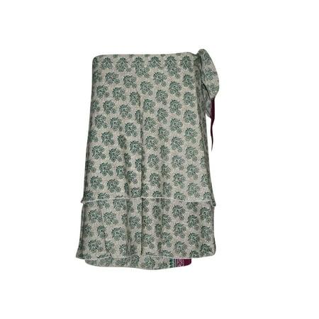 Mogul Wrap Around Skirt Two Layer Reversible Green Printed Premium Magic Short Wrap Skirts