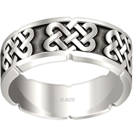 Men's 0.925 Sterling Silver Irish Celtic Love Knot Ring Band
