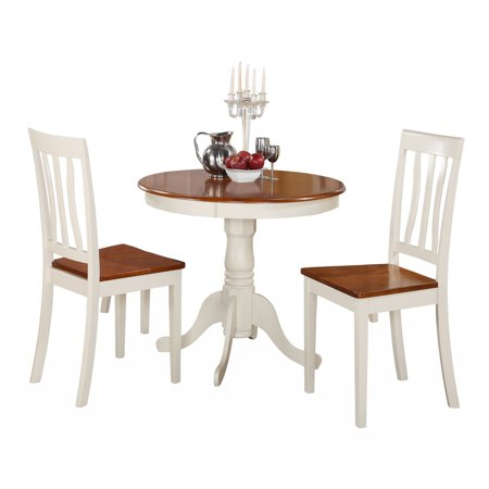 East west furniture antique 3 piece pedestal round dining for 10 piece kitchen table set