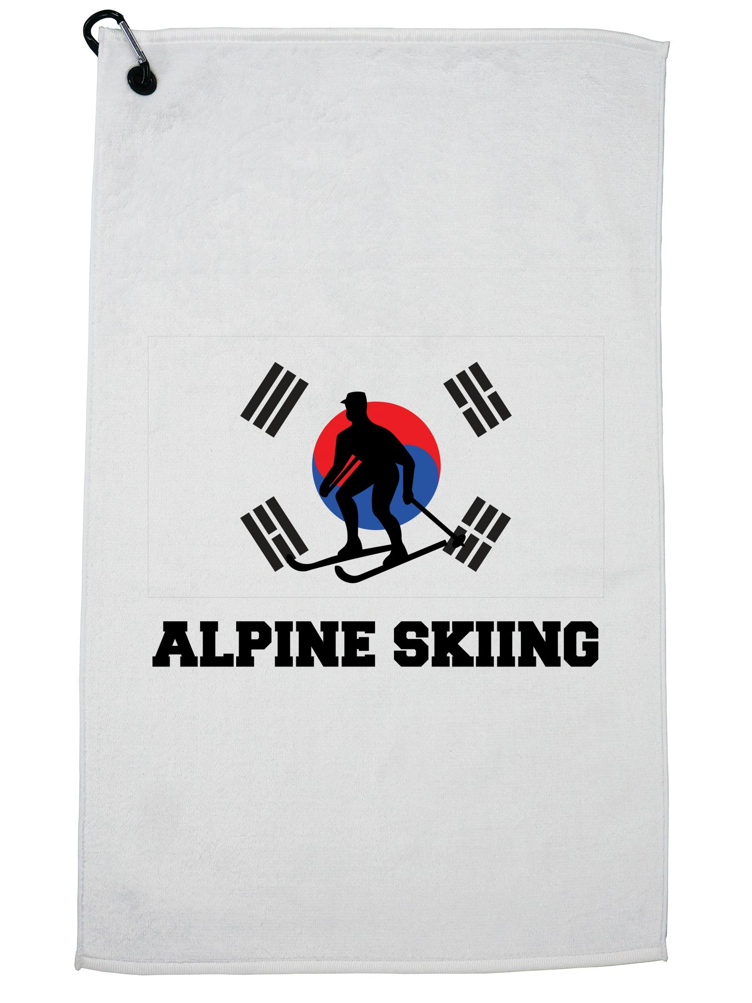 South Korea Olympic Alpine Skiing Flag Silhouette Golf Towel with Carabiner Clip by Hollywood Thread