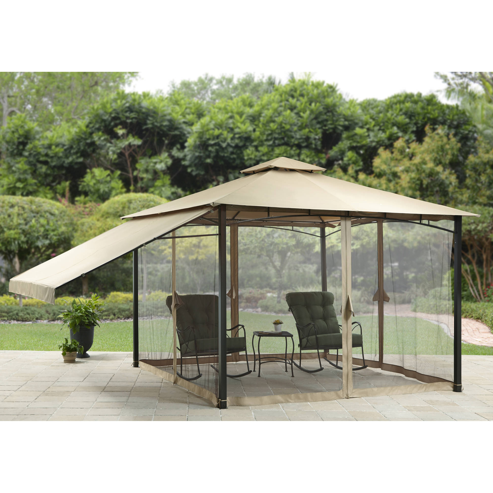 Better Homes and Gardens Canal Drive 11' x 11' Outdoor Cabin Style Gazebo with Adjustable Side