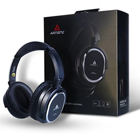 Artiste ANC100 Active Noise Cancelling Headphones with Airplane Adapter,Memory Foam Comfortable Headphones & Carrying Bag-