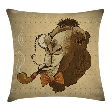 - Animal Throw Pillow Cushion Cover, Pop Art Stylized Hipster Camel with Pipe and Monocle Vintage Humor Fun Cool Graphic, Decorative Square Accent Pillow Case, 16 X 16 Inches, Brown Tan, by Ambesonne