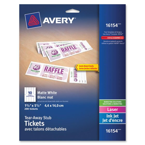Avery Tickets with Tear-Away Stubs, Matte, 1-3/4\