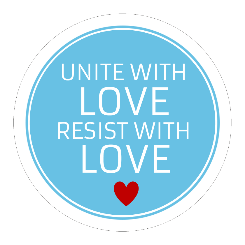 Circle Stickers - Unite With Love Resist Anti Hate - Set of 12