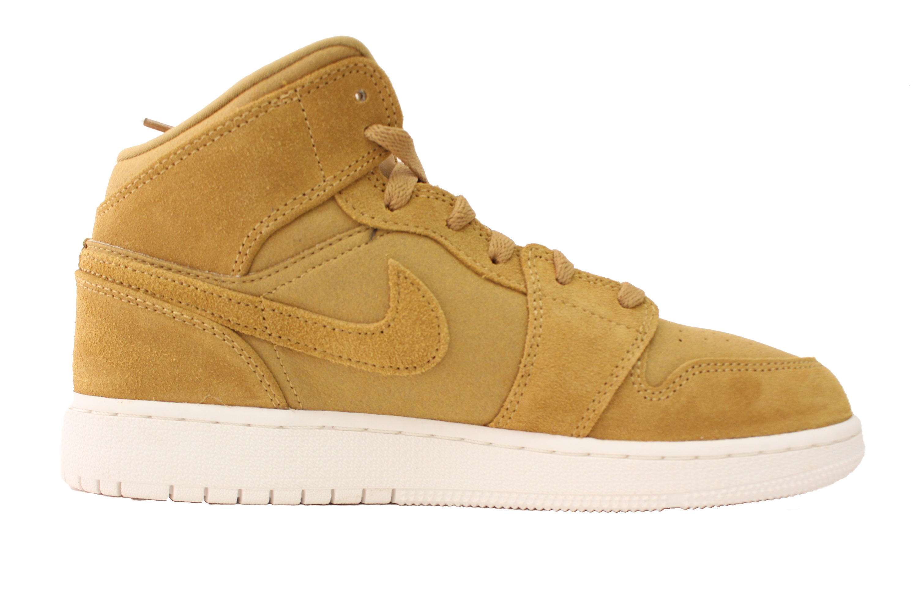 NIKE AIR JORDAN RETRO YOUTH 1 MID GS 6 YOUTH RETRO GOLDEN HARVEST WHEAT FLAX 554725 725 aa8cac