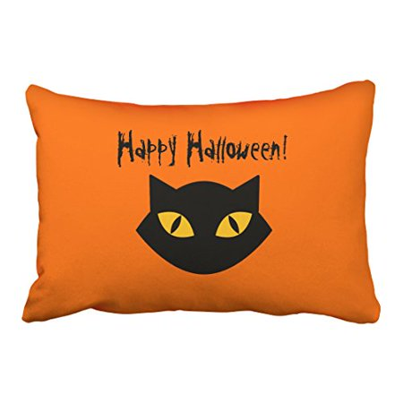 WinHome Modern Funny Happy Halloween Orange And Black Cat Simple Polyester 20 x 30 Inch Rectangle Throw Pillow Covers With Hidden Zipper Home Sofa Cushion Decorative Pillowcases (Simple And Funny Halloween Costumes)