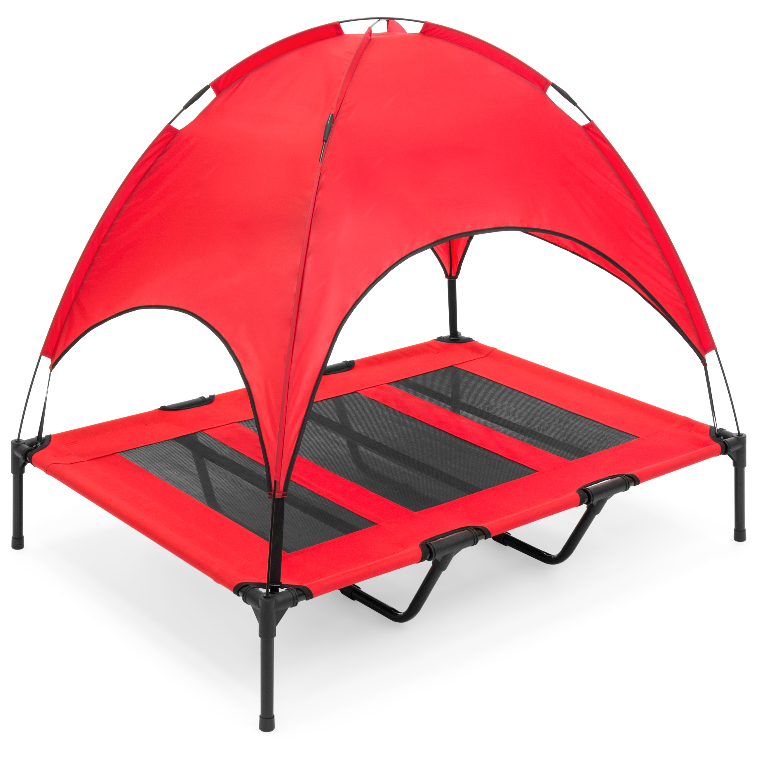 "Best Choice Products 48"" Raised Mesh Cot Cooling Dog Bed w/ Removable Canopy Tent, Large, Red"