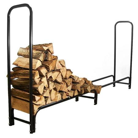 Sunnydaze Firewood Log Rack Black Steel Storage - Multiple Sizes & Options