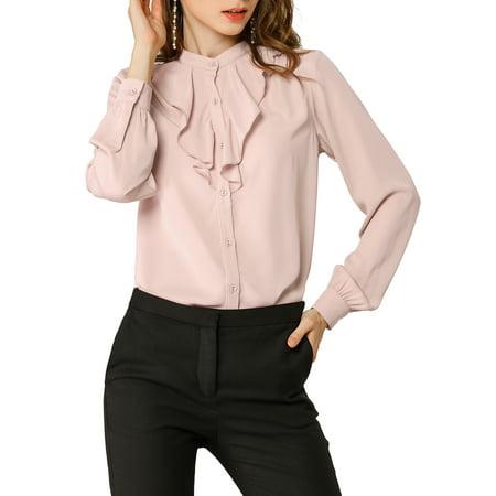 Allegra K Junior's Stand Collar Button Up Long Sleeve Shirts Blouse Pink M