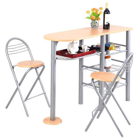 costway pub dining set counter height 3 piece table and chairs set